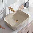 ราคาถูก อ่างล้างมือ-อ่างล้างหน้า ร่วมสมัย - แก้ว สี่เหลี่ยมผืนผ้า Vessel Sink