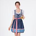 baratos Oktoberfest-Oktoberfest Dirndl Trachtenkleider Mulheres Vestido Bávaro Ocasiões Especiais Azul Vermelho