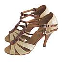 baratos Sapatos de Dança Latina-Mulheres Sapatos de Dança Couro Ecológico Sapatos de Dança Latina Gliter com Brilho Salto Salto Alto Magro Personalizável Preto / Dourado / Prata