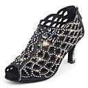 olcso Csillárok-Női Dance Shoes Szatén Latin cipők Glitter / Kristály díszítés / Csillogás Magassarkúk Kúpsarok Személyre szabható Fekete / Rózsaszín