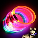ราคาถูก ปลอกคอ สายจูง สายรัดสำหรับสุนัข-สุนัข ปลอกคอ ไฟ LED กระพริบ ยาง ขาว ส้ม สีเหลือง