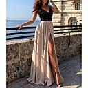 baratos Vestidos de Noite-Linha A Com Alças Finas Cauda Escova Chiffon Color Block Baile de Formatura / Evento Formal Vestido 2020 com Fenda Frontal / Aplicação de renda