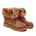 billige Mote Boots-Dame Støvler Flat hæl Rund Tå Griseskinn Ankelstøvler Høst vinter Svart / Kamel / Grønn