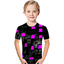 Χαμηλού Κόστους Μπλουζάκια για κορίτσια-Παιδιά Νήπιο Κοριτσίστικα Ενεργό Βασικό Γεωμετρικό Στάμπα Συνδυασμός Χρωμάτων Στάμπα Κοντομάνικο Κοντομάνικο Βυσσινί