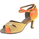 Χαμηλού Κόστους Παπούτσια χορού λάτιν-Γυναικεία Παπούτσια Χορού Σατέν Παπούτσια χορού λάτιν Αστραφτερό Γκλίτερ Τακούνια Τακούνι καμπάνα Πορτοκαλί / Κόκκινο / Μπλε