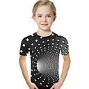Χαμηλού Κόστους Μπλουζάκια για κορίτσια-Παιδιά Νήπιο Κοριτσίστικα Ενεργό Βασικό Γεωμετρικό Στάμπα Συνδυασμός Χρωμάτων Στάμπα Κοντομάνικο Κοντομάνικο Μαύρο