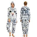 billiga läpp borstar-Tonåring Vuxna Kigurumi-pyjamas Katt Onesie-pyjamas Flanell Vit+Grå Cosplay För Herr och Dam Pyjamas med djur Tecknad serie Festival / högtid Kostymer