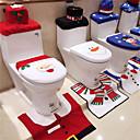 Χαμηλού Κόστους Γενέθλια-3 τεμάχια Χριστουγεννιάτικα στολίδια ευτυχισμένη σατέν κάλυμμα καθίσματος τουαλέτας και σετ μπάνιου μπάνιου
