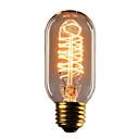 ราคาถูก หลอดไฟแบบไส้-1 ชิ้น 40 วัตต์เอดิสันหลอดไฟ t45 เส้นใยวินเทจหลอดไฟโบราณสไตล์หลอดไส้ - e26 / e27 ฐาน - กระจกใส - การฉีกขาดลดลงโคมไฟด้านบนสำหรับโคมไฟระย้าโคมไฟติดผนัง sconces จี้แสง 220-240 โวลต์