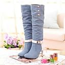povoljno Ženske čizme-Žene Čizme Kockasta potpetica Okrugli Toe Platno Čizme do pola lista Jesen zima Crn / Svjetloplav / Dark Blue