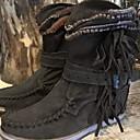 ราคาถูก สายไฟ LED-สำหรับผู้หญิง บูท Cowboy / Western Boots ส้นแบน ปลายกลม หนังนิ่ม รองเท้าบู้ทหุ้มข้อ ฤดูใบไม้ร่วง & ฤดูหนาว สีดำ / น้ำตาลเข้ม / สีเขียว