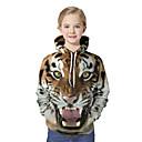 billige LED Sko-Barn Jente Aktiv Grunnleggende Tiger Geometrisk Fargeblokk 3D Trykt mønster Langermet Hettegenser og sweatshirt Brun / Dyr