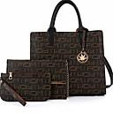 povoljno Tote torbe-Žene Patent-zatvarač PU Bag Setovi 3 kom Crn / Bež
