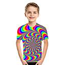 baratos Sandálias Femininas-Infantil Bébé Para Meninos Activo Básico Geométrica Estampado Estampa Colorida Estampado Manga Curta Camiseta Arco-íris