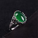 billige Motering-Dame Ring Justerbar ring 1pc Grønn Kobber Sølvplett Glass Geometrisk Form Vintage Mote Fest Daglig Smykker 3D Dyrebar Kul Smuk