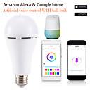 billige Smartbrytere-1pc 7 W LED-globepærer Smart LED-lampe 700 lm E14 B22 E26 / E27 12 LED perler APP-kontroll Smart Timing Multi-farger 85-265 V