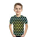 Χαμηλού Κόστους Μπλουζάκια για αγόρια-Παιδιά Νήπιο Αγορίστικα Ενεργό Βασικό Γεωμετρικό Στάμπα Συνδυασμός Χρωμάτων Στάμπα Κοντομάνικο Κοντομάνικο Φούξια