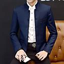billiga Modeklockor-Herr Dagligen Plusstorlekar Normal Blazer, Enfärgad Hög krage Långärmad Bomull / Akryl / Polyester Svart / Vin / Marinblå / Business Casual / Smal
