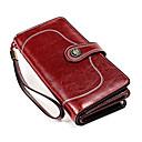 ราคาถูก กระเป๋าตังค์-สำหรับผู้หญิง ซิป หนังวัว กระเป๋าเงิน สีทึบ สีดำ / สีน้ำตาล / สีแดงชมพู