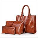 povoljno Tote torbe-Žene Patent-zatvarač PU Bag Setovi 3 kom Crn / Svjetlo siva / Red