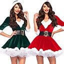 ราคาถูก ชุดซานตา&เดรสคริสต์มาส-ซานตาคลอส หนึ่งชิ้น ชุดเดรส สำหรับผู้หญิง ผู้ใหญ่ พรรค Costume Party คริสมาสต์ วันคริสต์มาส กำมะหยี่ ชุดเดรส / เข็มขัด
