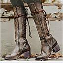 olcso Női csizmák-Női Csizmák Kényelmes cipők Alacsony Kerek orrú PU Magas szárú csizmák Ősz & tél Barna / Szürke