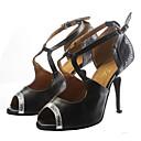 baratos Sapatos de Dança Latina-Mulheres Sapatos de Dança Couro Sapatos de Dança Latina Salto Salto Alto Magro Personalizável Prata / Black / Preto e Dourado / Preto / Vermelho
