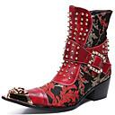 billige Herrestøvler-Herre Fashion Boots Nappa Lær Vinter / Høst vinter Fritid / Britisk Støvler Hold Varm Støvletter Vin / Fest / aften