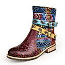 Χαμηλού Κόστους Γυναικείες Μπότες-Γυναικεία Μπότες Χαμηλό τακούνι Στρογγυλή Μύτη Δέρμα Μποτίνια Φθινόπωρο & Χειμώνας Κόκκινο