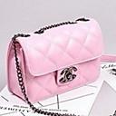 olcso Keresztpántos táskák-Női PU Vállon átvetős táska Rács Fekete / Arcpír rózsaszín / Ezüst