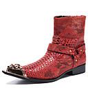 povoljno Muške čizme-Muškarci Fashion Boots Mekana koža Zima / Jesen zima Vintage / Uglađeni Čizme Ugrijati Čizme do pola lista Crvena / Zabava i večer