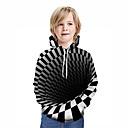 Χαμηλού Κόστους Πίνακες με Ζώα-Παιδιά Αγορίστικα Ενεργό Κομψό στυλ street Γεωμετρικό 3D Patchwork Στάμπα Μακρυμάνικο Μπλούζα με Κουκούλα & Φούτερ Μαύρο