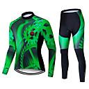 ราคาถูก ชุดเซทปั่นจักรยาน-TELEYI สำหรับผู้ชาย แขนยาว Cycling Jersey with Tights สีดำ / สีเขียว จักรยาน แป้นสั้น ชุดออกกำลังกาย รักษาให้อุ่น กันลม แห้งเร็ว ฤดูหนาว กีฬา เส้นใยสังเคราะห์ สีทึบ ขี่จักรยานปีนเขา Road Cycling