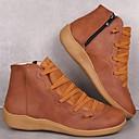 billige Mote Boots-Dame Støvler Komfort Sko Flat hæl Rund Tå PU Ankelstøvler Fritid Gange Høst / Vinter Svart / Brun / Grønn