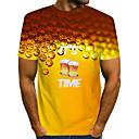 baratos Broches-Homens Tamanho Europeu / Americano Camiseta Moda de Rua / Exagerado Estampado, Estampa Colorida / 3D / Letra Decote Redondo Amarelo / Manga Curta