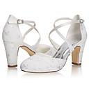 ราคาถูก รองเท้าแต่งงาน-สำหรับผู้หญิง รองเท้าแต่งงาน ส้นหนา ที่ปิดนิ้วเท้า ซาติน หวาน / minimalism ฤดูร้อนฤดูใบไม้ผลิ / ฤดูใบไม้ร่วง & ฤดูหนาว คริสตัล / งานแต่งงาน / พรรคและเย็น