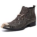 billige Herrestøvler-Herre Novelty Shoes Nappa Lær Vinter / Høst vinter Vintage / Britisk Støvler Hold Varm Ankelstøvler Gull / Sølv / Fest / aften