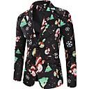 ราคาถูก เบลเซอร์ &สูทผู้ชาย-สำหรับผู้ชาย เสื้อคลุมสุภาพ, ลายดอกไม้ ปกคอแบะของเสื้อแบบน็อตช์ เส้นใยสังเคราะห์ สีดำ