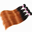 """Χαμηλού Κόστους Εξτένσιος μαλλιών με ανταύγιες-4 πακέτα Βραζιλιάνικη Ίσιο Αγνή Τρίχα Remy Τρίχα Ombre Εξτένσιον από Ανθρώπινη Τρίχα 12""""~26"""" Πολύχρωμο Υφάνσεις ανθρώπινα μαλλιών Φυσικό Η καλύτερη ποιότητα Περούκα αφροαμερικανικό στυλ"""