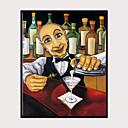 baratos Quadros com Moldura-Impressão de Arte Emoldurada Conjunto Emoldurado - Pessoas Desenho Animado Poliestireno Pintura de Óleo Arte de Parede