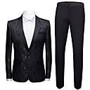 povoljno Stare svjetske nošnje-Muškarci odijela, Geometrijski oblici Maramasti rever Poliester Crn / Lila-roza / Obala