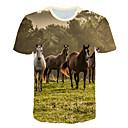 billige Bell & Låser & Mirrors-T-skjorte Herre - Fargeblokk / 3D / Dyr, Trykt mønster Gatemote / Punk & Gotisk Hest / Fantastiske dyr Grønn
