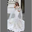billige Bryllupskjoler-A-linje Høyhalset Kapellslep Blonder Stroppeløs Sexy Made-To-Measure Brudekjoler med 2020