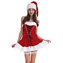 ราคาถูก ชุดซานตา&เดรสคริสต์มาส-ซานตาคลอส หนึ่งชิ้น ชุดเดรส สำหรับผู้หญิง ผู้ใหญ่ พรรค Costume Party คริสมาสต์ วันคริสต์มาส กำมะหยี่ ชุดเดรส / หมวก