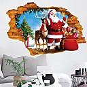 Χαμηλού Κόστους Αυτοκόλλητα Τοίχου-guang-t 3d okno nálepka na zeď veselé vánoce santa claus a jeleni vyměnitelné nálepky umění nálepky na zeď na vánoční sváteční dekorace (50x70cm)