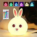 billige Smartlamper-dozzlor tegneserie kanin led nattlys fjernkontroll sensor fargerik usb silikon bunny nattbord lampe for barn barn baby