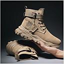 billige Herrestøvler-Herre Combat-boots PU Vinter Støvler Svart / Beige / Kakifarget