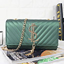ราคาถูก กระเป๋าสะพายข้าง-สำหรับผู้หญิง ซิป PU Crossbody Bag สีดำ / สีม่วง / ทับทิม