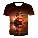 Χαμηλού Κόστους Wall Ταπετσαρίες-Ανδρικά T-shirt Βασικό / Εξωγκωμένος Γεωμετρικό / 3D / Γραφική Στάμπα Πορτοκαλί