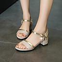 ราคาถูก รองเท้าแตะผู้หญิง-สำหรับผู้หญิง รองเท้าแตะ ส้นหนา ที่สวมนิ้วเท้า หัวเข็มขัด PU minimalism ฤดูร้อนฤดูใบไม้ผลิ สีทอง / สีเงิน / พรรคและเย็น